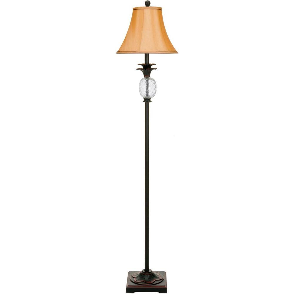 Alyssa 61 in. Beige Bavaria/Black Tall Pineapple Floor Lamp