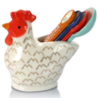 Life On The Farm 4-Piece Durastone Figural Rooster Measuring Spoon Set
