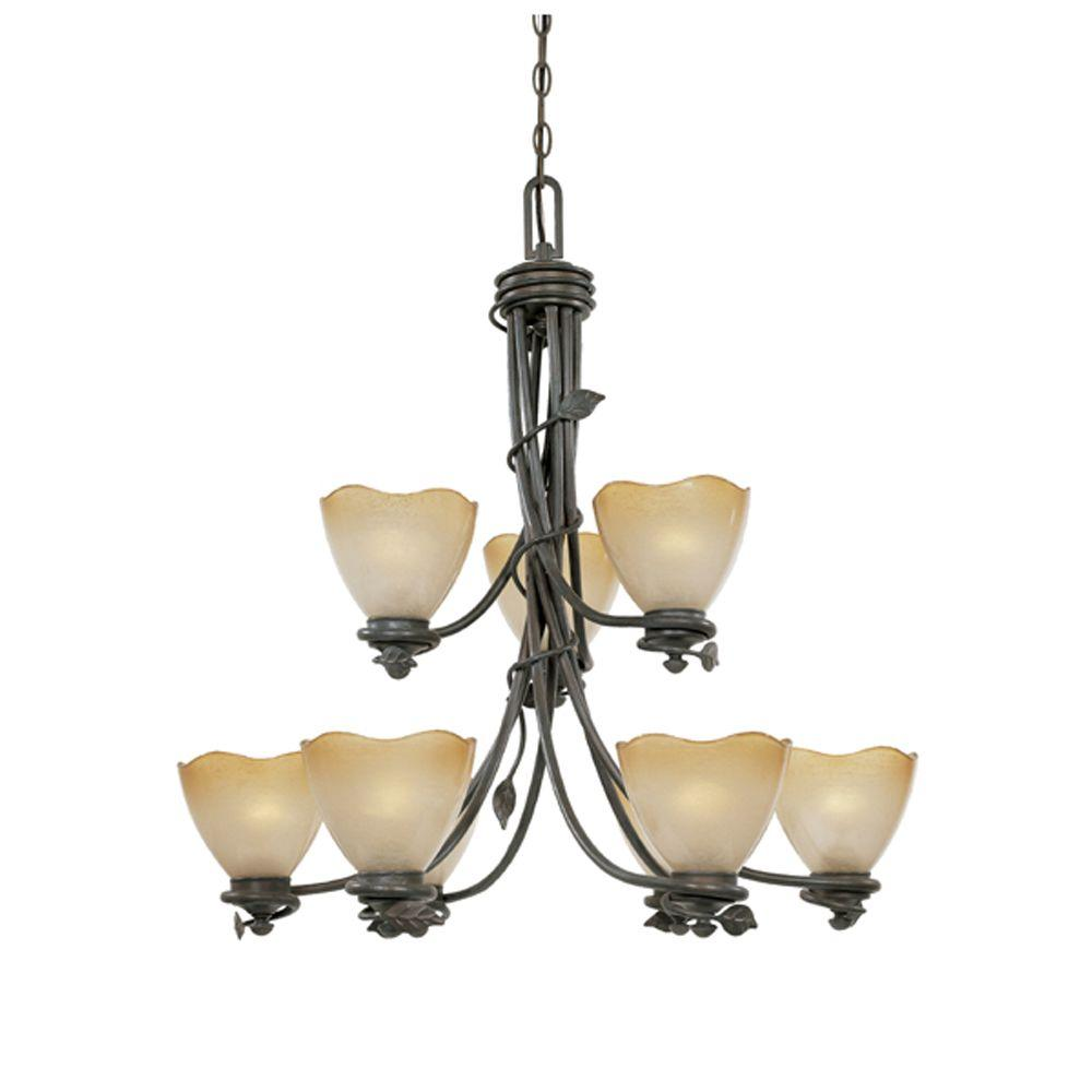 Designers Fountain Belle Rose Collection 9-Light Old Bronze Hanging Chandelier