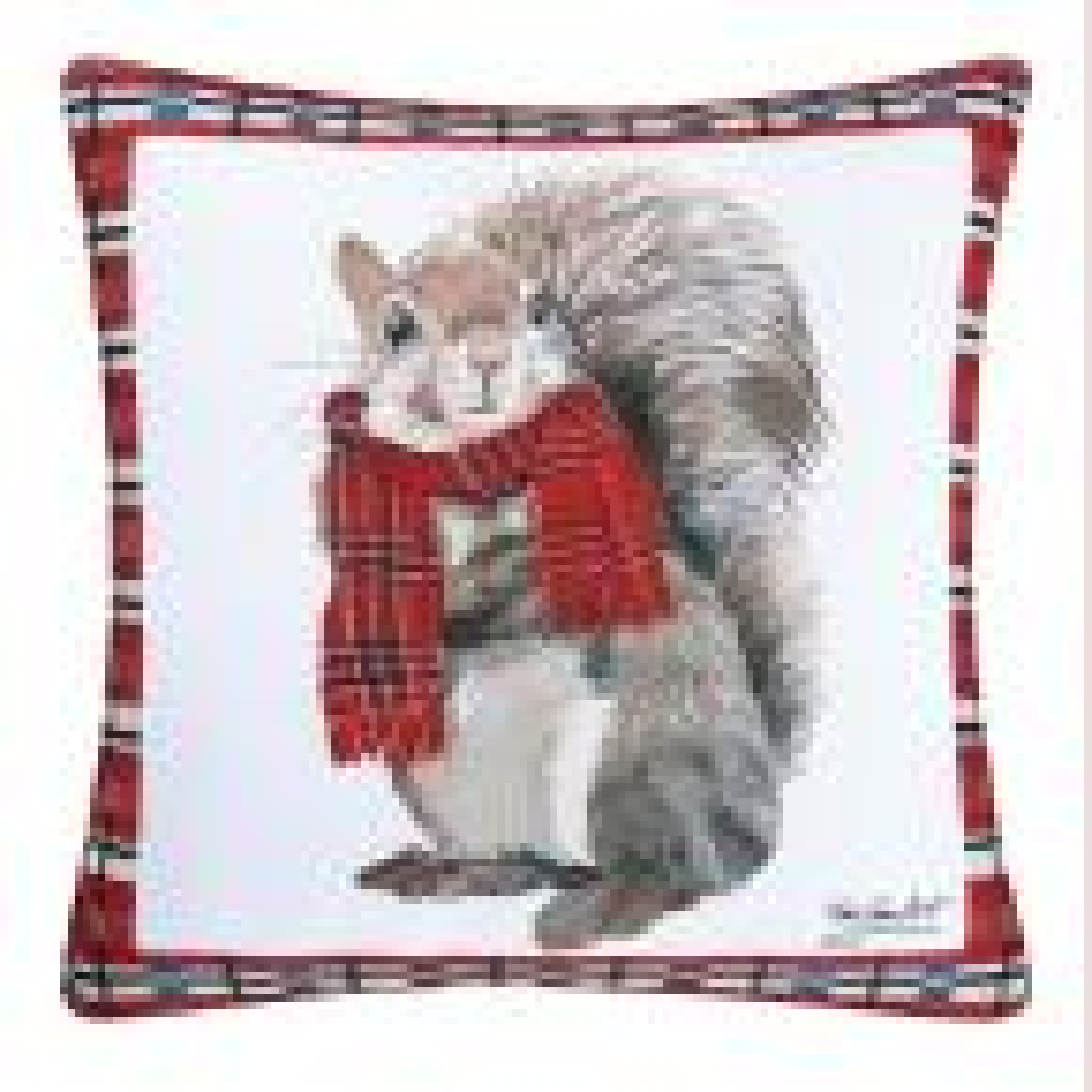Red Plaid Squirrel Indoor / Outdoor 18 in. x 18 in. Standard Throw Pillow