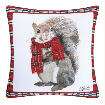 Red Plaid Squirrel Indoor / Outdoor 18 in. x 18 in. Standard Throw Pillow