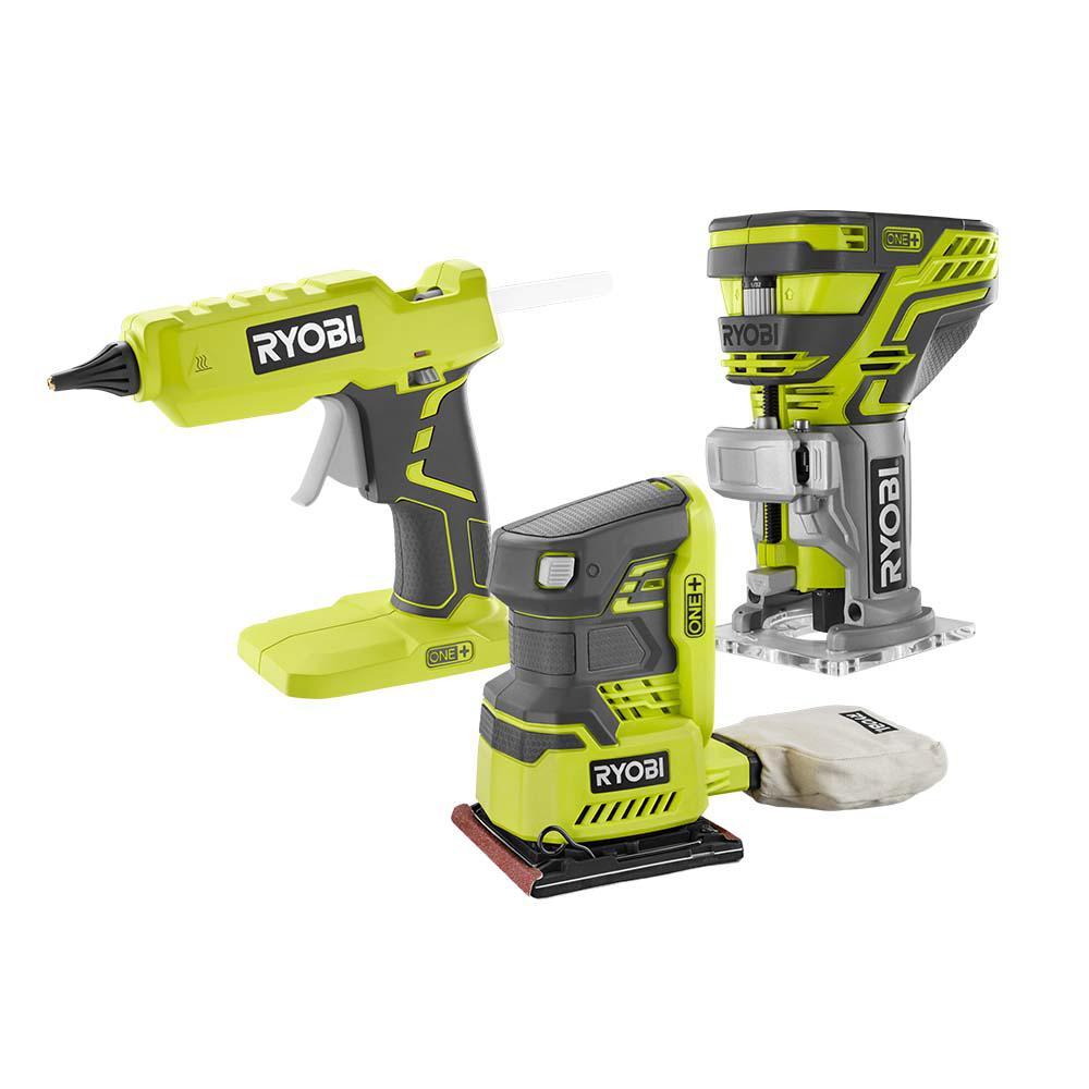ryobi 3 tool trim router sander glue gun set 18volt one power tools only ebay. Black Bedroom Furniture Sets. Home Design Ideas