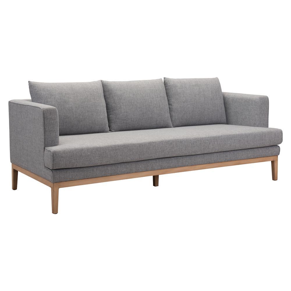 Terrific Zuo Eden Gray Aluminum Outdoor Sofa With Gray Cushions Dailytribune Chair Design For Home Dailytribuneorg