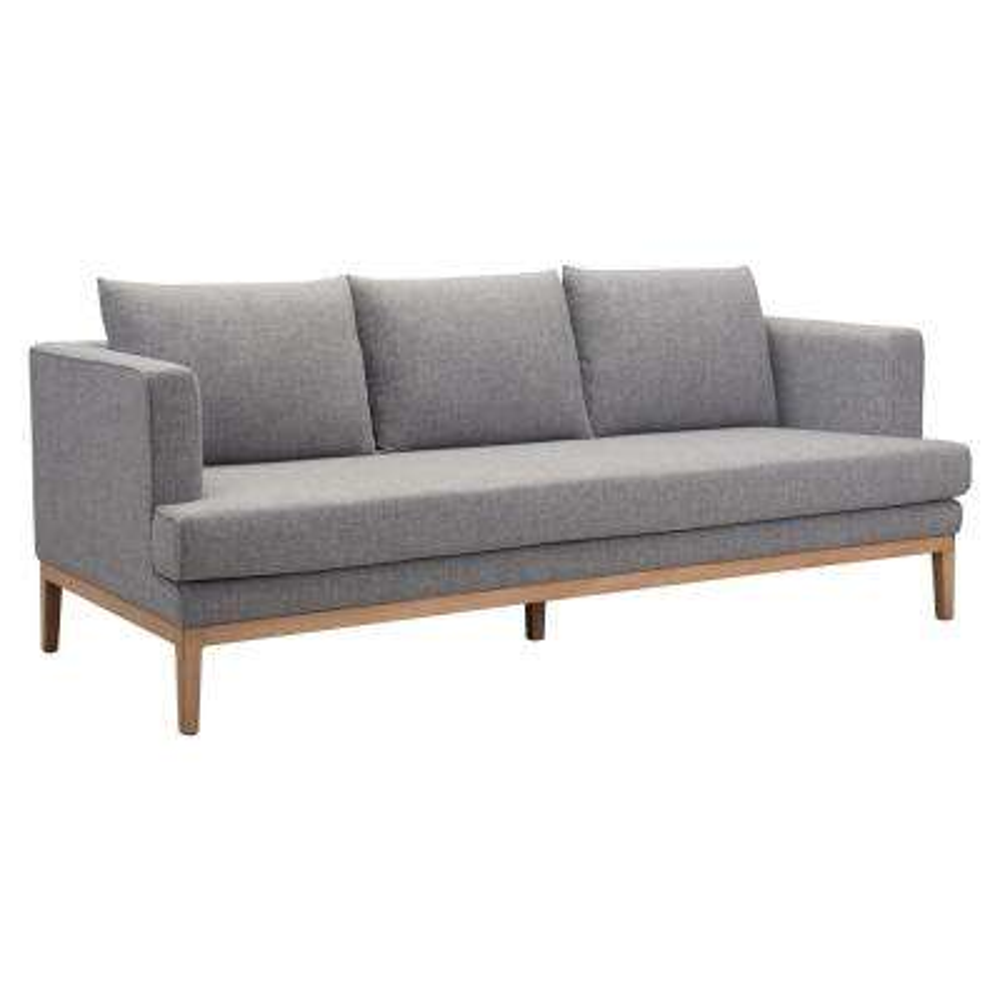 Eden Gray Aluminum Outdoor Sofa with Gray Cushions