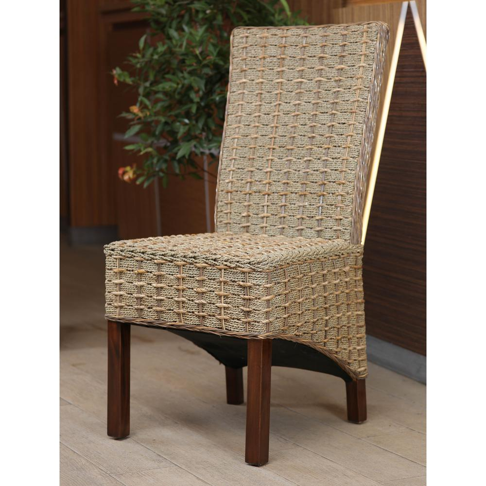 Arizona Mohogany Abaca Weave Dining Chair with Mahogany Hardwood ...