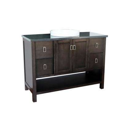 Monterey 49 in. W x 22 in. D Bath Vanity in Brown with Granite Vanity Top in Black with White Round Basin