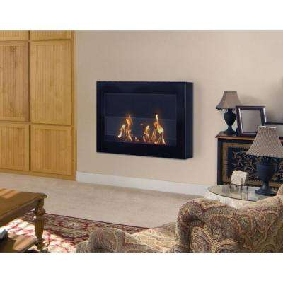SoHo 28 in. Wall-Mount Vent-Free Ethanol Fireplace in Black