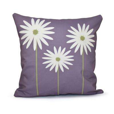 16 in. x 16 in. Daisy May Floral Print Pillow in Purple