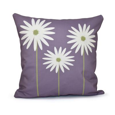 Daisy May Floral Print Throw Pillow in Purple
