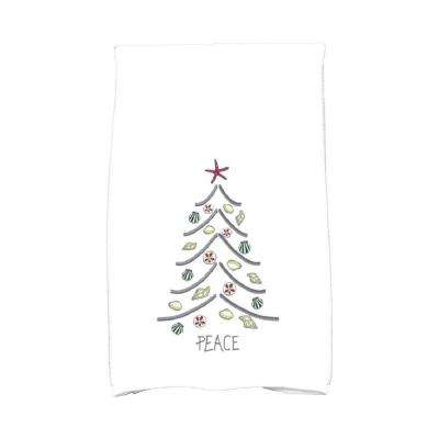 16 in. x 25 in. Cranberry Sand Tree Holiday Geometric Print Kitchen Towel