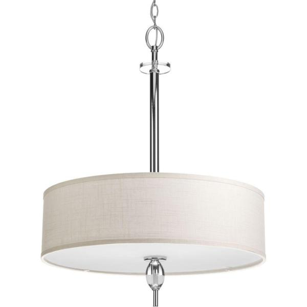 Status Collection 4-Light Polished Chrome Foyer Pendant with White Linen Shade