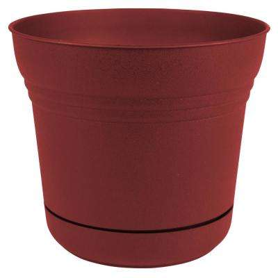 Saturn 14 in. x 12.75 in. Burnt Red Plastic Planter with Saucer