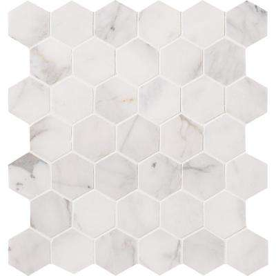 12 in. x 12 in. x 10mm Calacatta Cressa Hexagon Honed Marble Mesh-Mounted Mosaic Tile (9.8 sq. ft. / case)