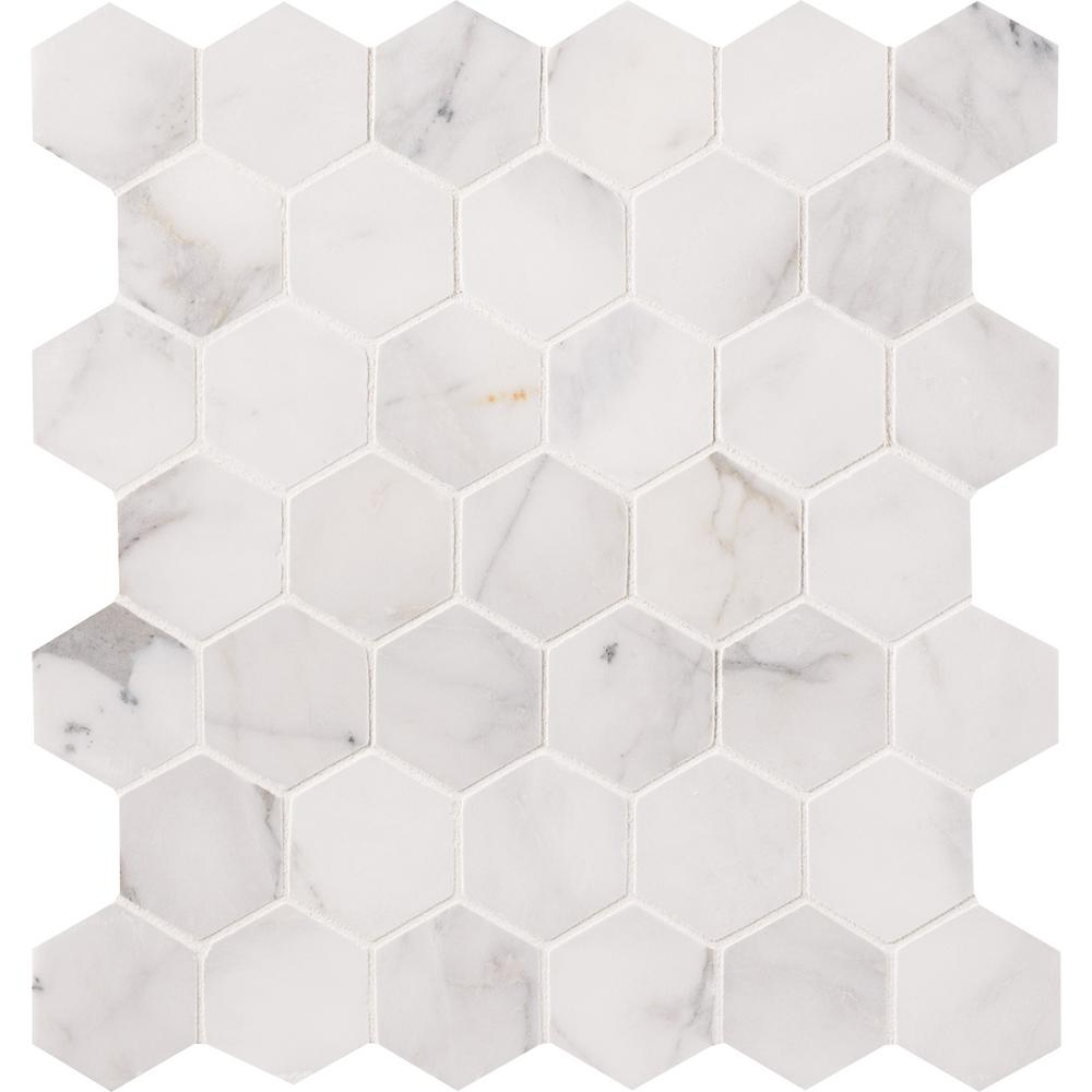 MSI Calacatta Cressa Herringbone 12 in. x 12 in. x 10mm Honed Marble ...