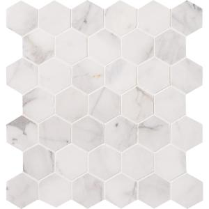 Calacatta Cressa Hexagon 12 in. x 12 in. x 10mm Honed Marble Mesh-Mounted Mosaic Tile (9.8 sq. ft. / case)