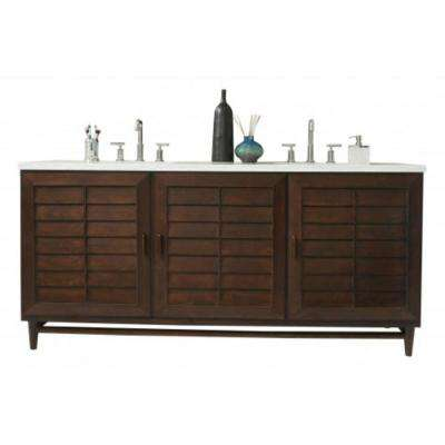 Portland 72 in. W Double Vanity in Burnished Mahogany with Solid Surface Vanity Top in Arctic Fall with White Basin
