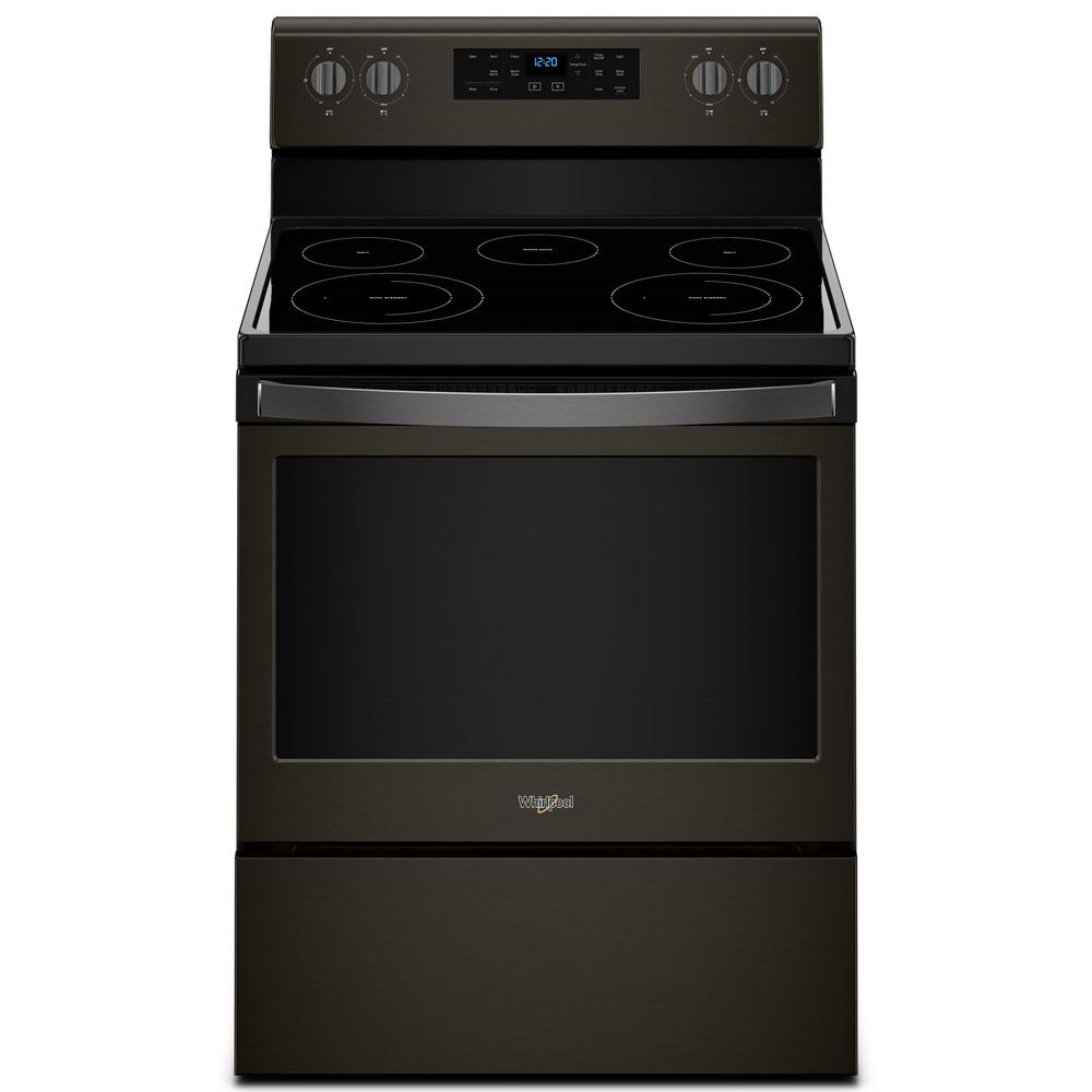Whirlpool 5.3 cu. ft. Electric Range with Self-Cleaning Oven in Fingerprint Resistant Black Stainless