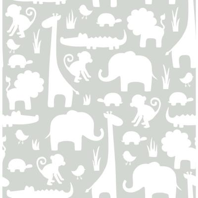Grey Its A Jungle In Here Peel and Stick Wallpaper