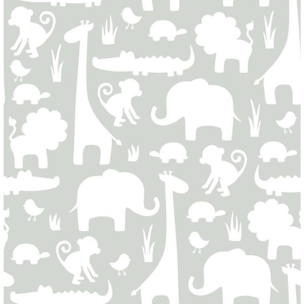 NuWallpaper Grey Its A Jungle In Here Peel and Stick Wallpaper