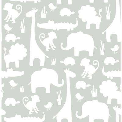 Grey it's A Jungle in Here Peel and Stick Wallpaper Sample