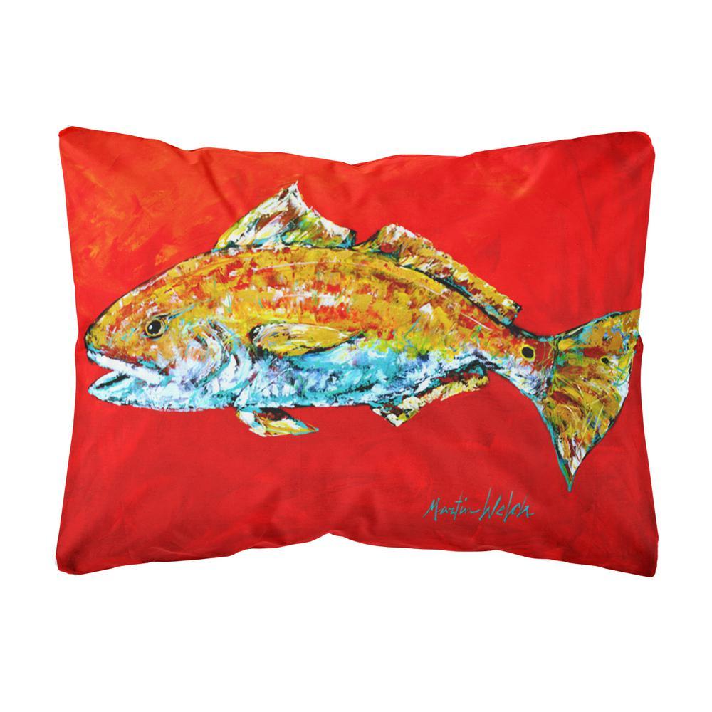 Caroline's Treasures 12 in. x 16 in. Multi-Color Lumbar Outdoor Throw Pillow Fish Red Fish Red Head