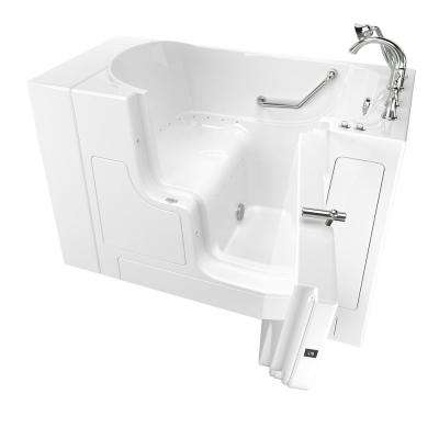 Gelcoat Value Series 52 in. x 30 in. Right Hand Touch Control Walk-In Air Bathtub with Outward Opening Door in White