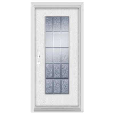 37.375 in. x 83 in. Geometric Right-Hand Full Lite Zinc Finished Fiberglass Oak Woodgrain Prehung Front Door Brickmould