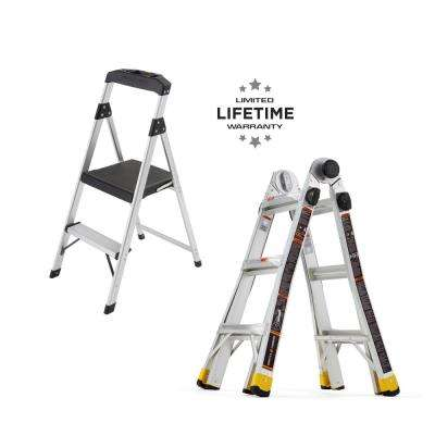 14 ft. Reach MPXA Multi-Position Ladder/2-Step Aluminum Step Stool (Combo-Pack)