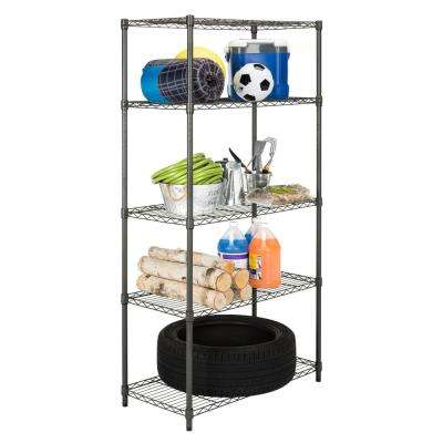 Julia 71 in. H x 35.4 in. W x 17.7 in D Dark Gray 5-Tier Adjustable Wire Storage Rack