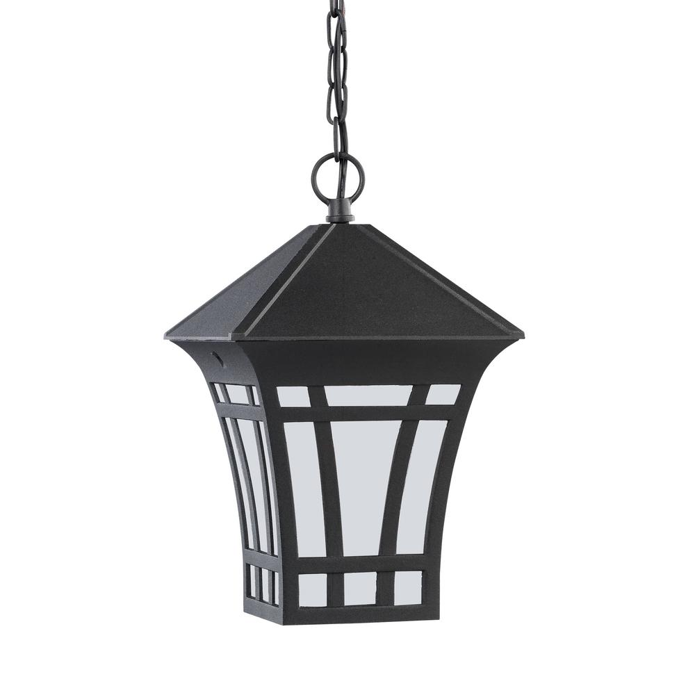 Herrington Black 1-Light Outdoor Hanging Pendant with LED Bulb