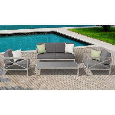 High Quality Pasadena 4 Piece Aluminum Frame Patio Conversation Set With White And Light  Green Cushions