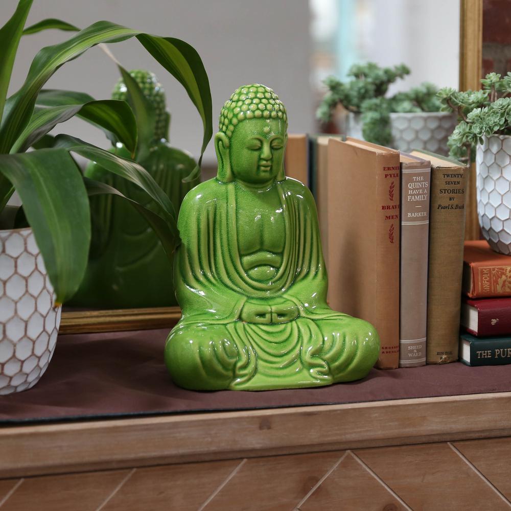 11.5 in. H Buddha Decorative Figurine in Green Gloss Finish