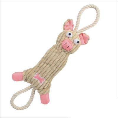Jute and Rope Plush Pig Dog Toy in Pink