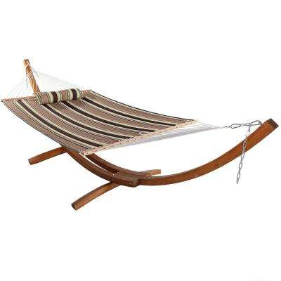 11-3/4 ft. Quilted 2-Person Hammock with 13 ft. Wooden Curved Arc Stand in Sandy Beach