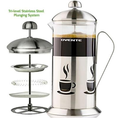 4.25-Cups Nickel Brushed French Press Cafetire Coffee and Tea Maker High-Grade Stainless Steel, Heat-Resistant