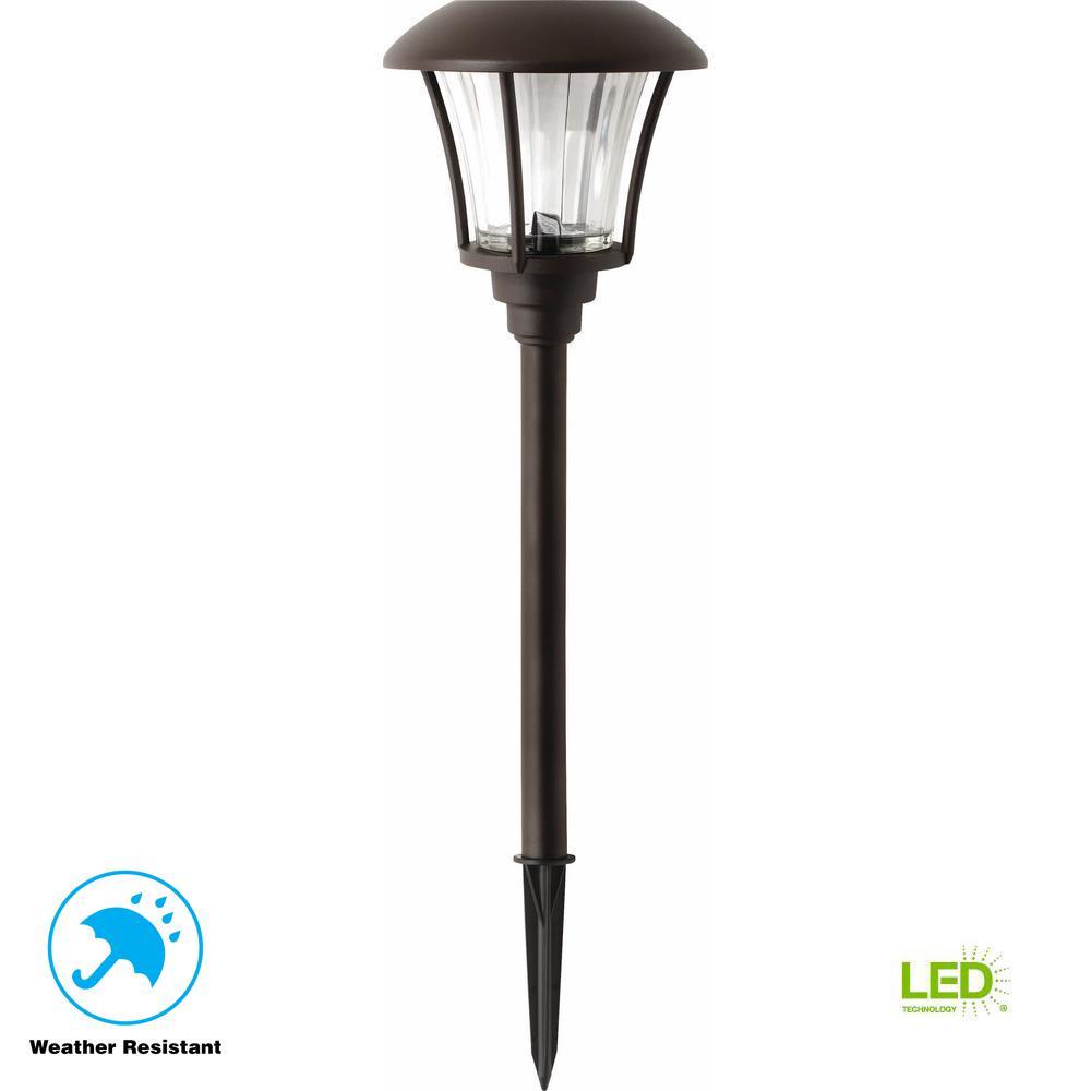 Landscape Lighting Kit Solar Powered Walkway Lights: Hampton Bay Bronze Solar Outdoor Integrated LED Landscape