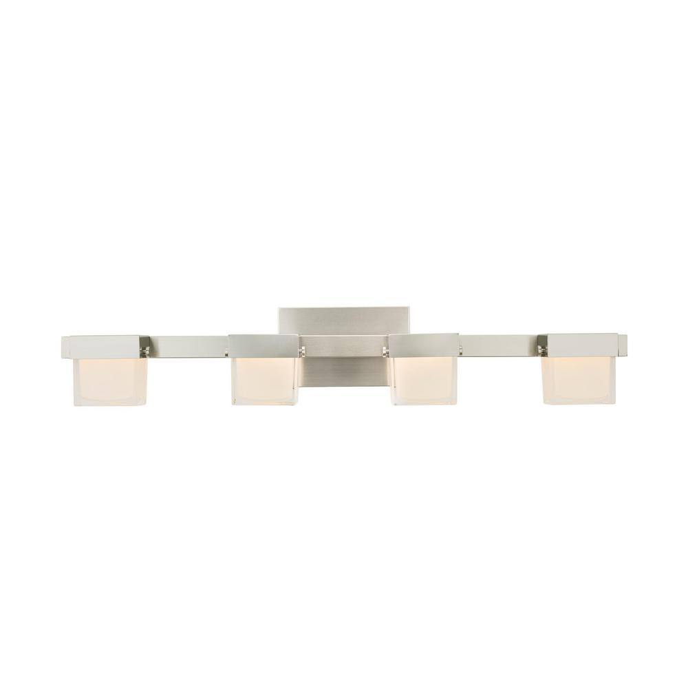 Home Decorators Collection 40-Watt Equivalent 4-Light Brushed Nickel Integrated LED Vanity Light with White Glass