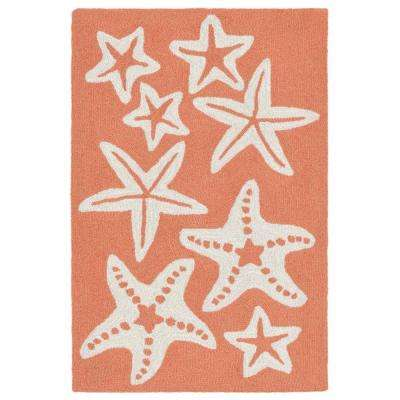 Lucca Basket Star Coral 2 ft. x 3 ft. Rectangle Indoor/Outdoor Area Rug