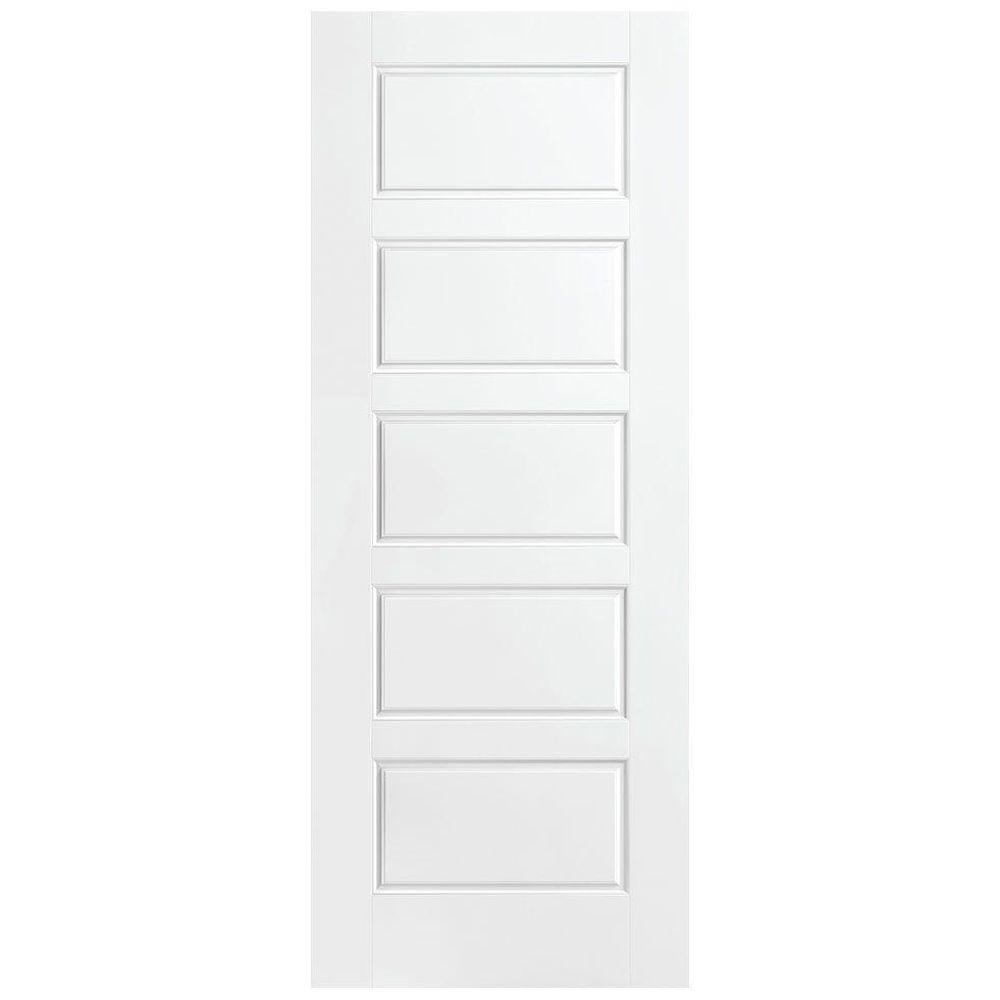 Masonite 30 in. x 84 in. Riverside Primed Solid Core 5 Panel Equal Interior Barn Door Slab