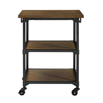 Gladis Black with Rustic Oak Kitchen Cart