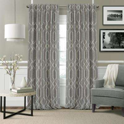 Devin Gray Polyester Single Blackout Window Curtain - 52 in. W x 84 in. L
