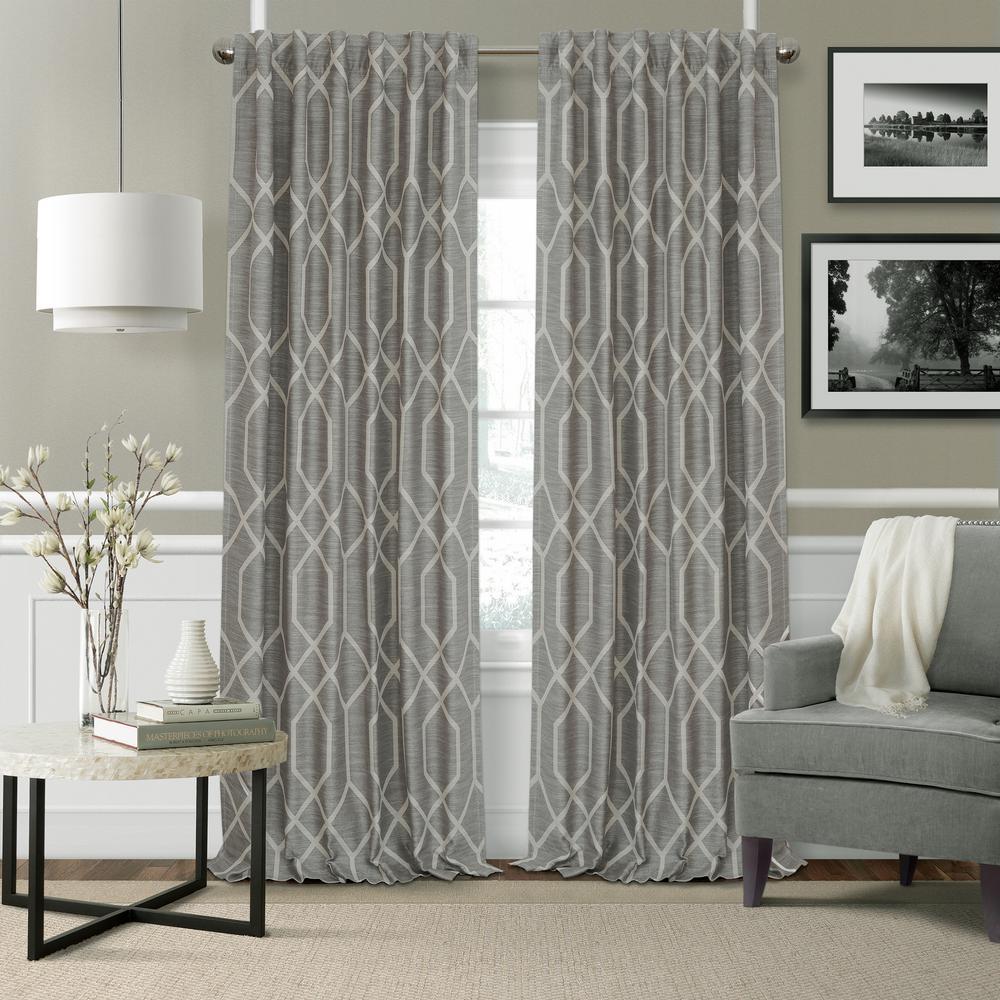 Devin GrayPolyester Single Blackout Window Curtain - 52 in. W x 95 in. L