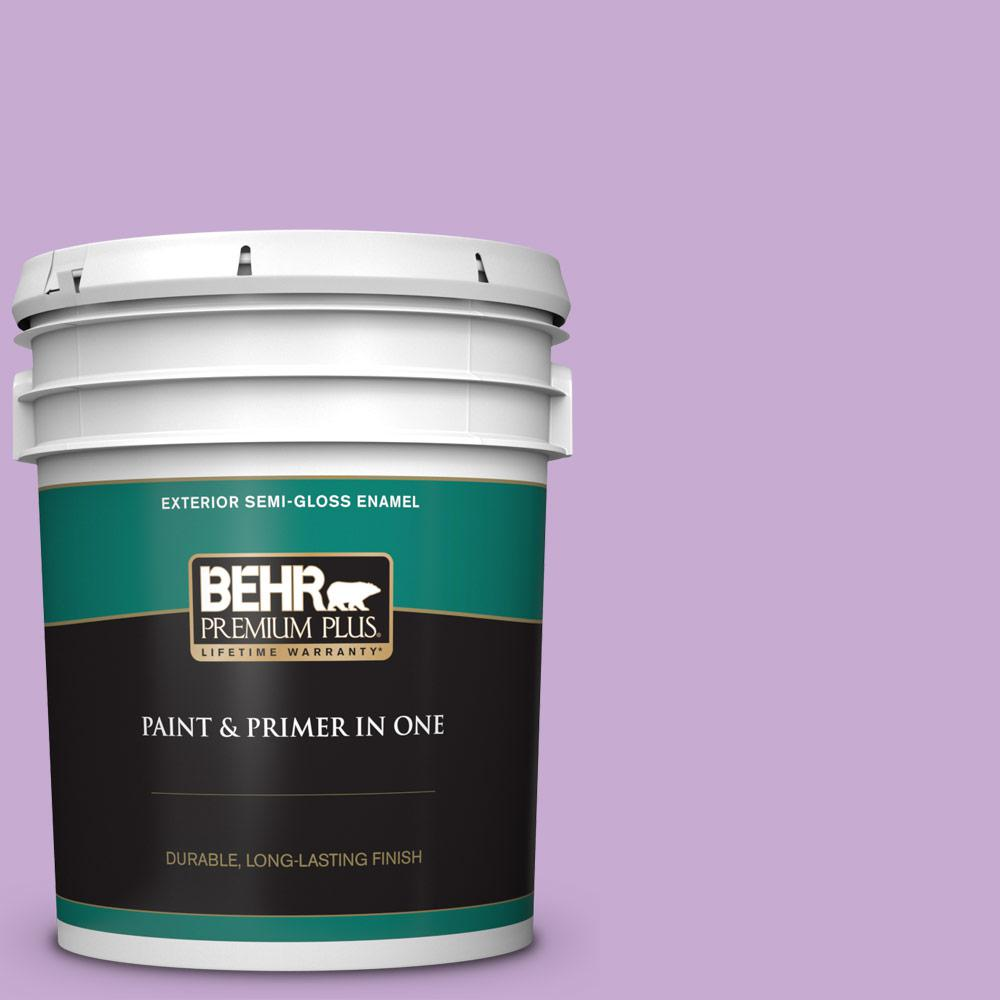 Behr Premium Plus 5 Gal 660b 4 Pale Orchid Semi Gloss Enamel Exterior Paint And Primer In One 540005 The Home Depot