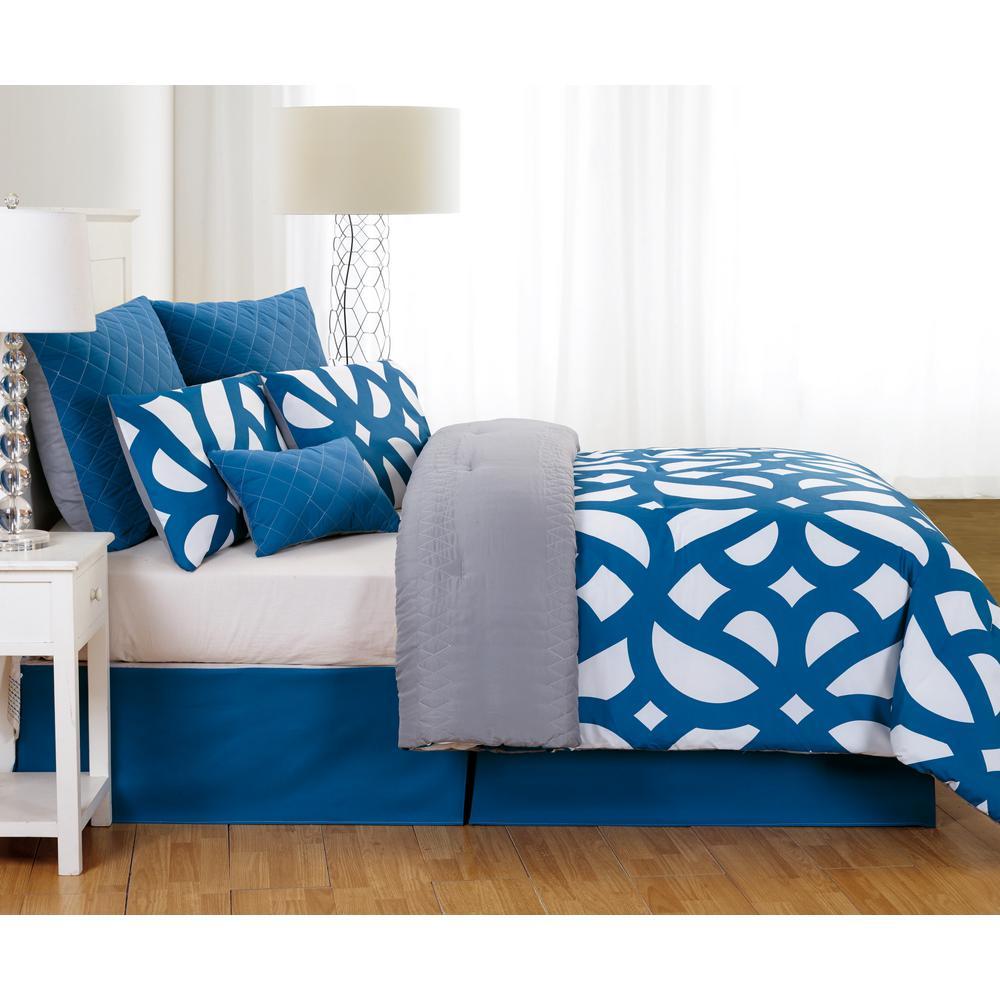 Uxbridge Online Quilted Oversize/Overfilled 7pc Queen Comforter Set in Indigo-Grey