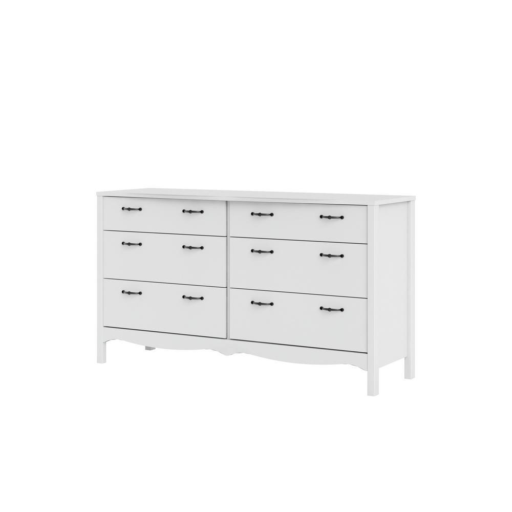 Biscayne 6-Drawer White Double Dresser