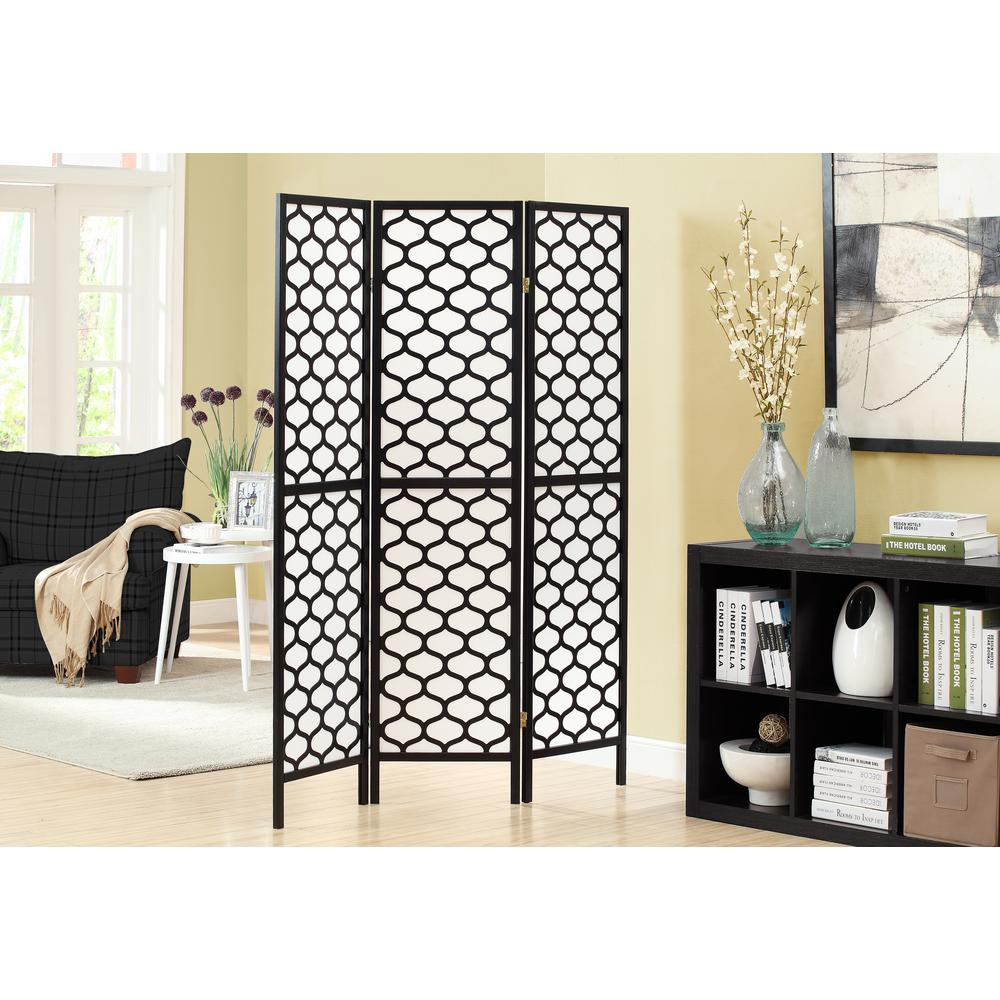 Monarch Specialties 5.92 ft. Black 3-Panel Room Divider