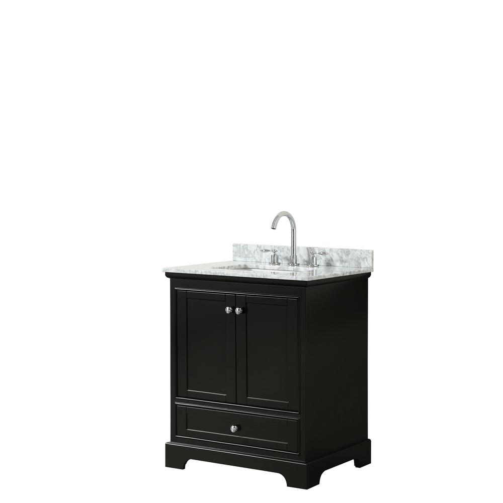 Wyndham Collection Deborah 30 in. Single Bathroom Vanity in Dark Espresso with Marble Vanity Top in White Carrara with White Basin