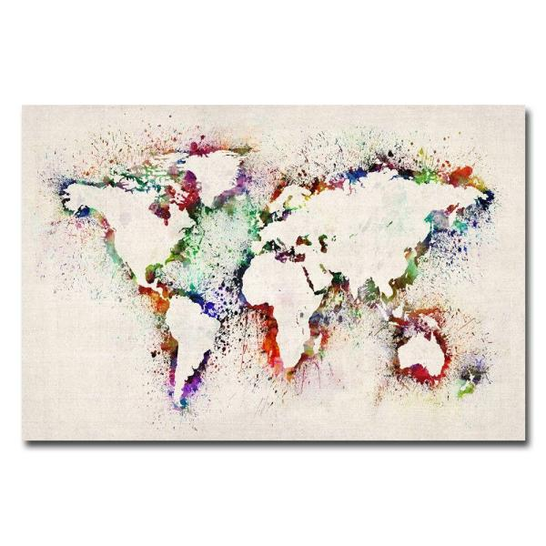 16 in. x 24 in. World Map - Paint Splashes Canvas