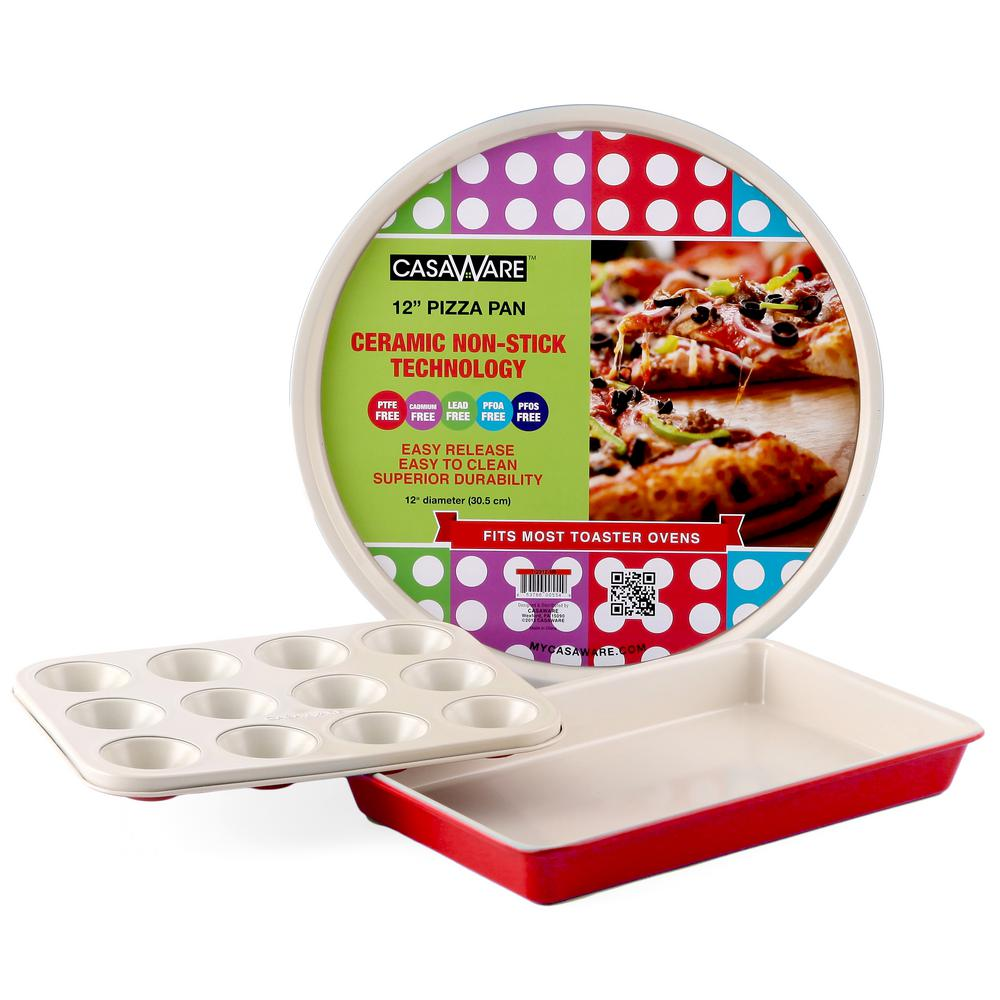Casaware Toaster Oven 3-Piece Set in Red