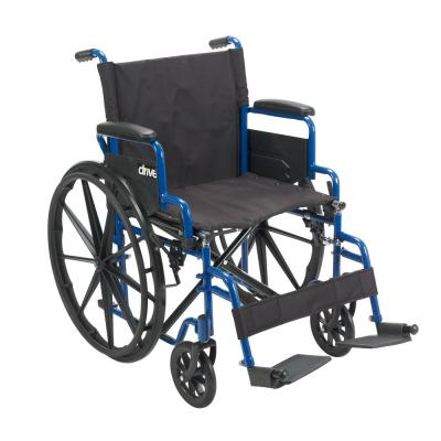 Blue Streak Wheelchair with Flip Back Desk Arms, 18 in. Seat and Swing Away Footrest